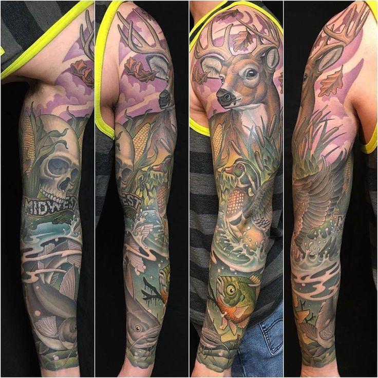Midwest Nature tattoo by @trevormuzik at Olde Town Tattoo in St. Cloud MN #trevormuzik #oldetowntattoo #stcloud #minnesota #midwest #midwesttattoo #nature #naturetattoo #buck #bucktattoo #deer #deertattoo #duck #ducktattoo #fish #fishtattoo #bass #basstattoo #wildlife #wildlifetattoo #hunting #huntingtattoo #tattoo #tattoos #tattoosnob
