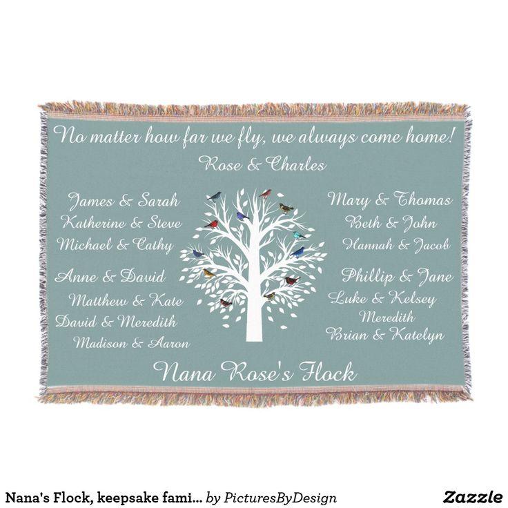 Nana's Flock, keepsake family tree, Personalized Throw Blanket