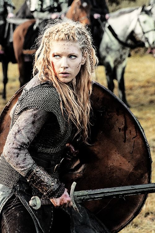 Although blonde, Katheryn Winnick as Lagertha (Vikings) has many Helena traits