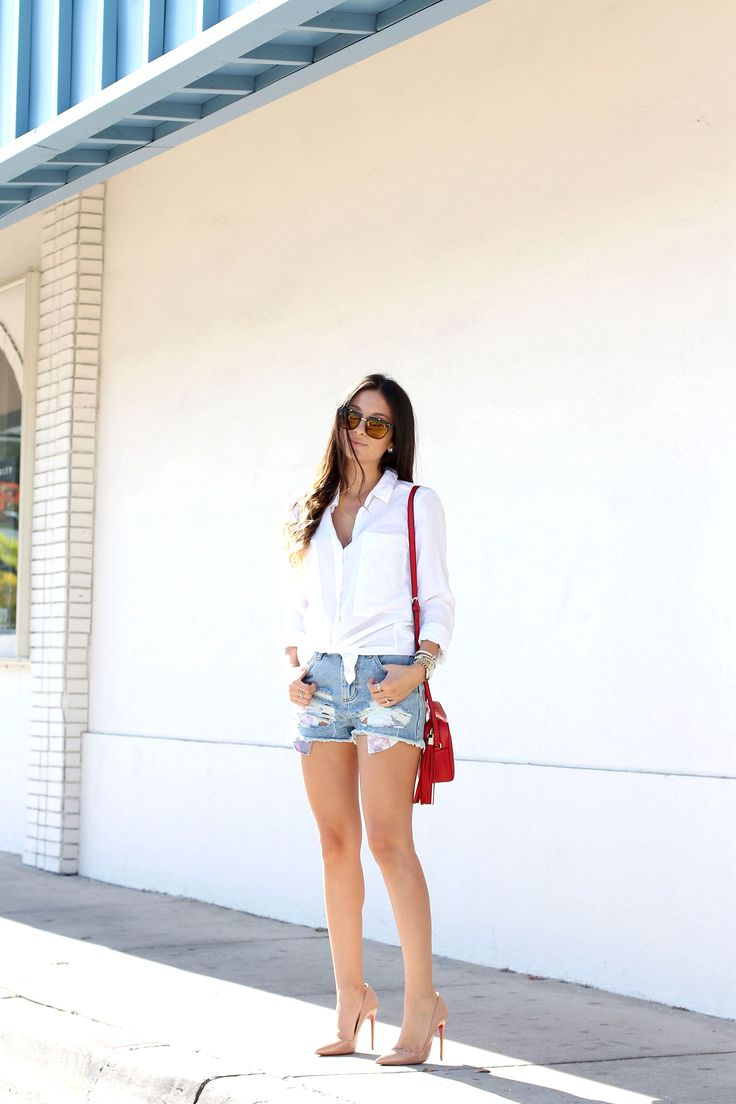 red, white and blue, 4th of july outfit, gucci, cut offs, topshop, lacoste, christian louboutin, louboutin heels, so kate louboutins,  white button down, ombre hair, carrera sunglasses being unfaithful limited offer,no taxes and free shipping.#shoes #womenstyle #heels #womenheels #womenshoes  #fashionheels #redheels #louboutin #louboutinheels #christanlouboutinshoes #louboutinworld