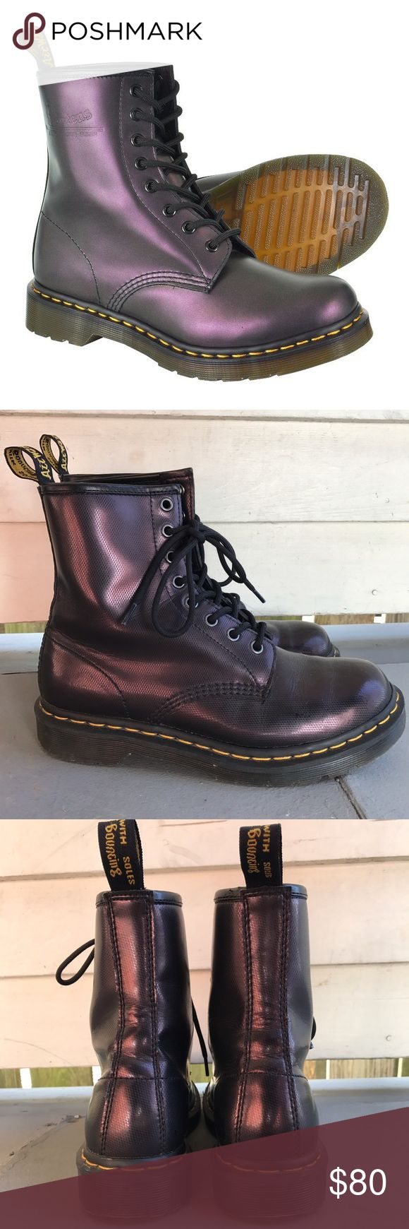 Purple doc marten boots Barely worn metallic purple doc martens! In great condition and look slightly sparkly in the sun Dr. Martens Shoes Lace Up Boots