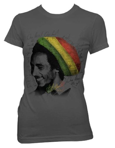 Bob Marley Rasta Tam Womens T-Shirt - This womens grey t-shirt features a black and white portrait of a smiling Bob Marley wearing a colored rasta hat, printed over a background filled with the wor