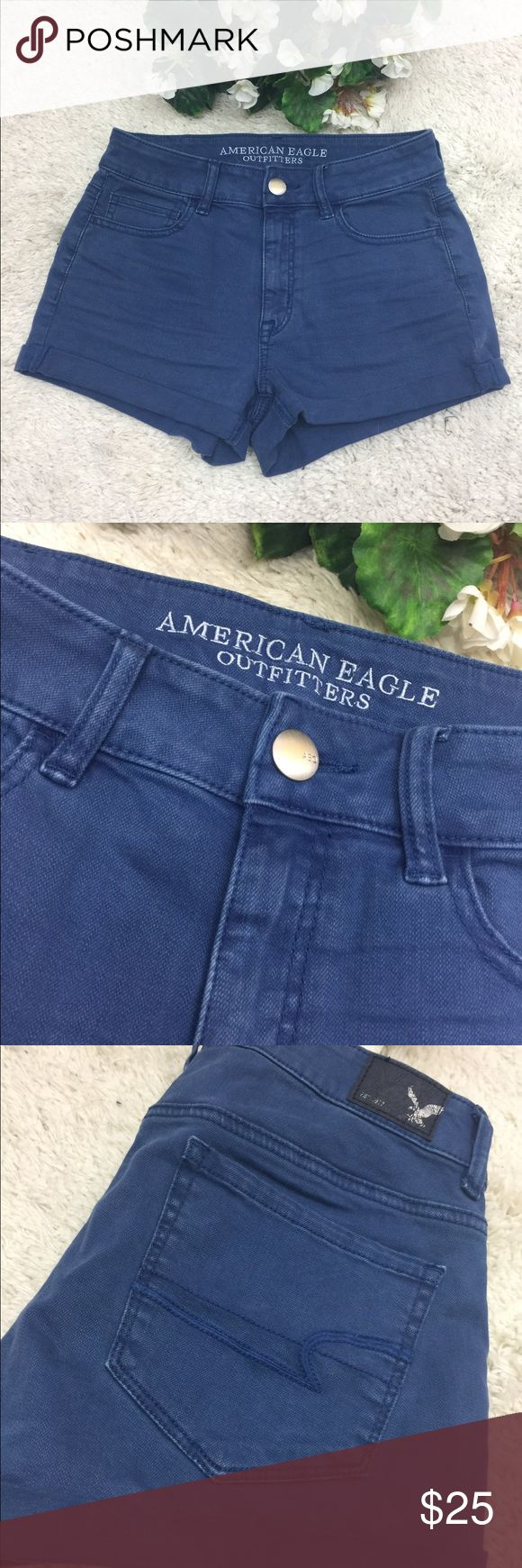 American Eagle Blue High-Rise Short Shorts Size 4 American Eagle Blue High-Rise Short Shorts Size 4. Great used condition! American Eagle Outfitters Shorts Jean Shorts
