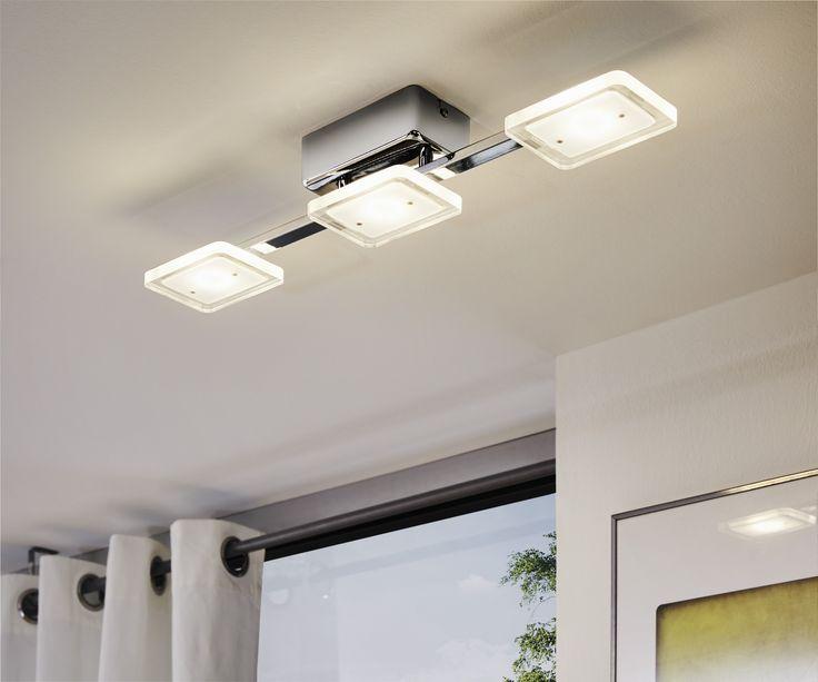 Eglo Lighting / Cartama / LED Polished Chrome & Satinated Square Shades 3 Lamp Bar Flush