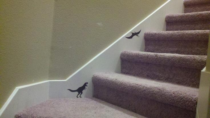 Cricut Dinosaur Tracks cartridge...dinosaurs walking up the stairs!