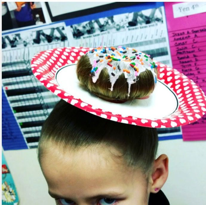 Great easy look for crazy hair day! Just make a hole in a plate and do a simple bun! I love it! Website-http://www.boredpanda.com/crazy-hair-day-styles-kids-school/