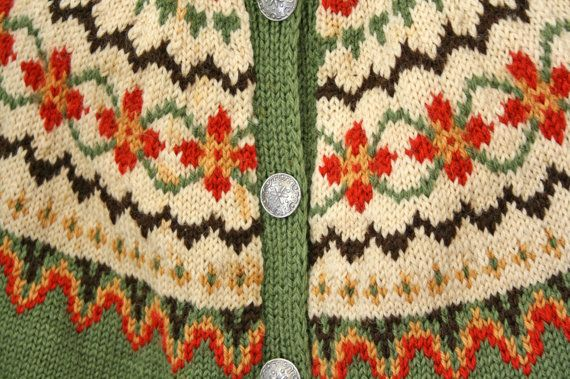 vintage 50s Norwegian Olive Green Fair Isle by littleveggievintage