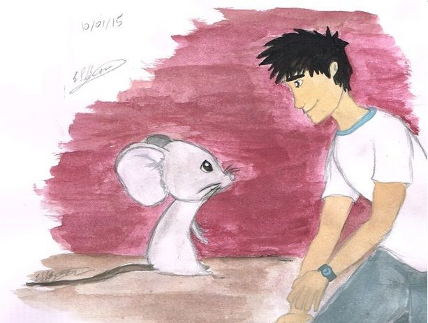 "Ty Black (from Gamma Accidents) shrinking and hanging out with his pal, a regular ole' mouse. (He calls him ""Giant Mouse."") Artist: Erin Sheena Byrne. 12/01/2015"
