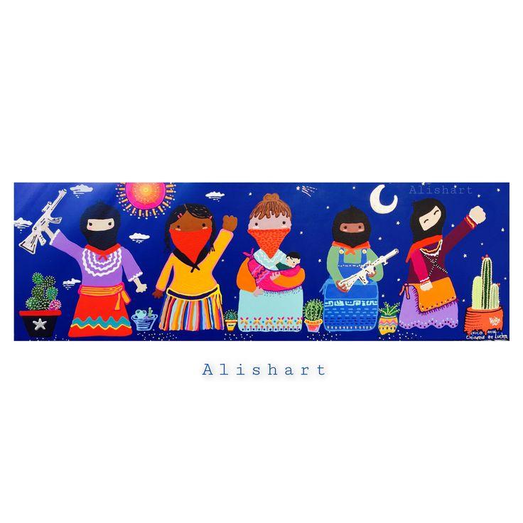 """""""Guerrilleras con Sol y Luna"""" by @alisharte #guerrilleras #art #color #sol #luna #blue #artblue"""
