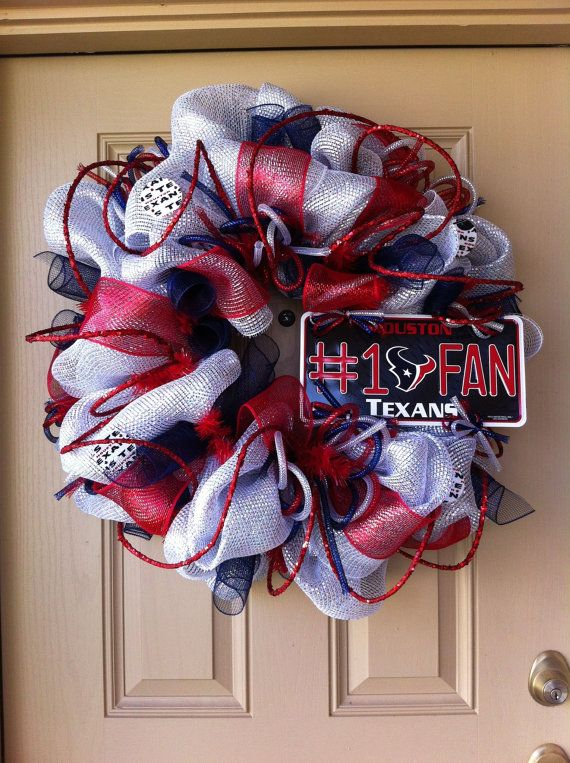 Deluxe Deco Mesh Houston TEXANS Wreath by SparkledIntentions, $125.00