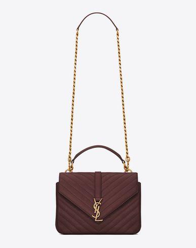 SAINT LAURENT Classic Medium Monogram Saint Laurent Collège Bag In Bordeaux Matelassé Leather. #saintlaurent #bags #shoulder bags #hand bags #leather #lining #