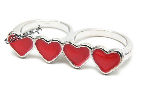 Podwójny złoty pierścionek na dwa palce serca serce