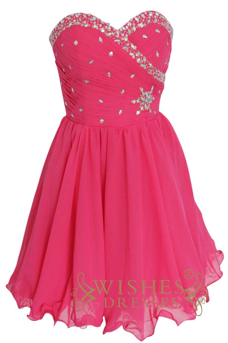 2015 a-line Hot Pink Chiffon Short Prom Dress Am135 $129.00 http://www.wishesdresses.com/collections/prom-dresses/products/2015-a-line-hot-pink-chiffon-short-prom-dress-am133