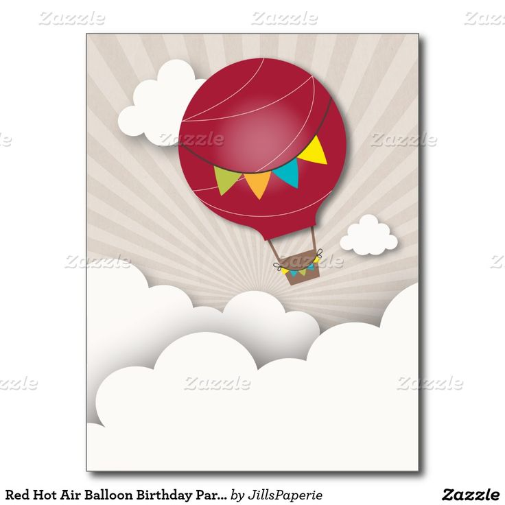 Red hot air balloon birthday party postcard