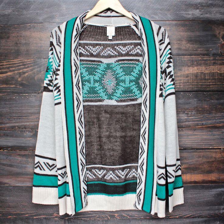 mod lightweight tribal cardigan aztec in jade