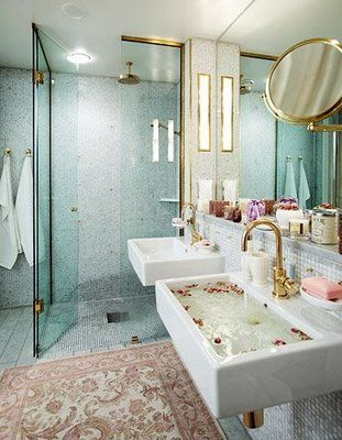 Loooove that shower and the geometric angles of this bathroom!