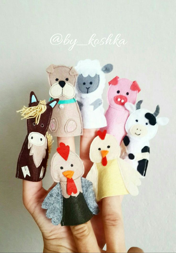 Felt finger puppets, Пальчиковый театр, животные из фетра, felt animals, keçe, ферма фетр
