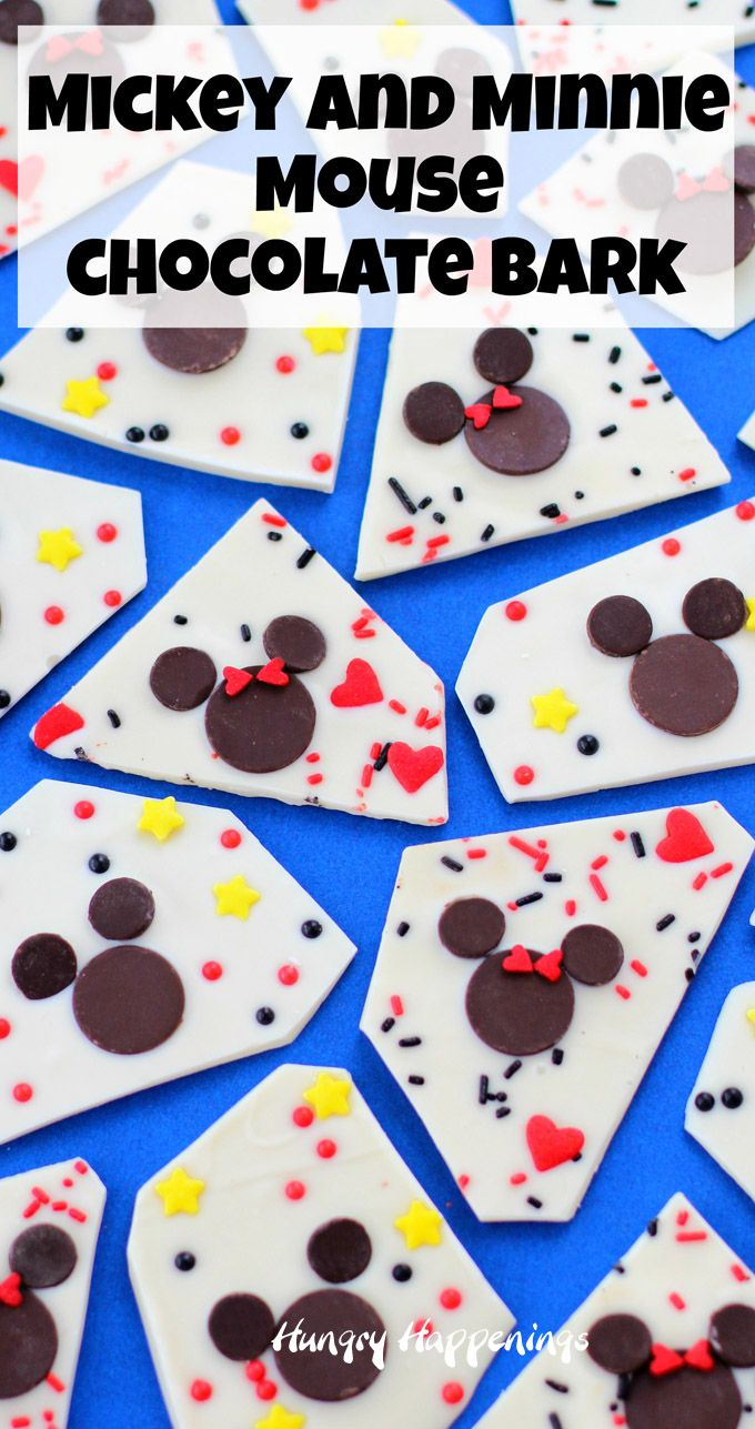 key and Minnie Mouse Chocolate Bark is so simple to make using chocolate wafers and chips. Add lots of sprinkles for fun. See the tutorial at HungryHappenings.com.