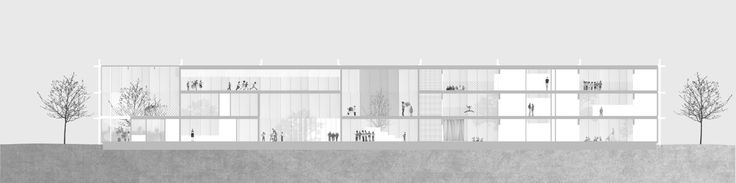 "Imberg Arkitekter - Proposal for ""Barnrum"" - A space for children in Stockholm. Long section."