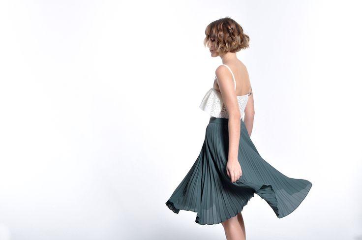 Green Pleated Skirt Soleil
