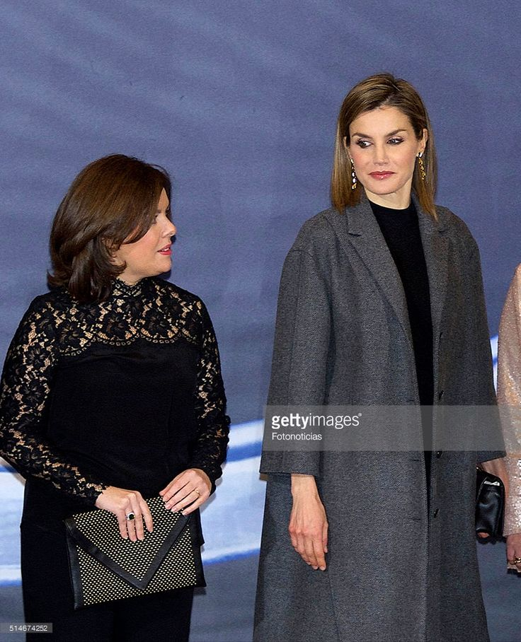 Soraya Saenz de Santamaria and Queen Letizia of Spain attend the 'In Memoriam' concert at the National Auditorium on March 10, 2016 in Madrid, Spain.