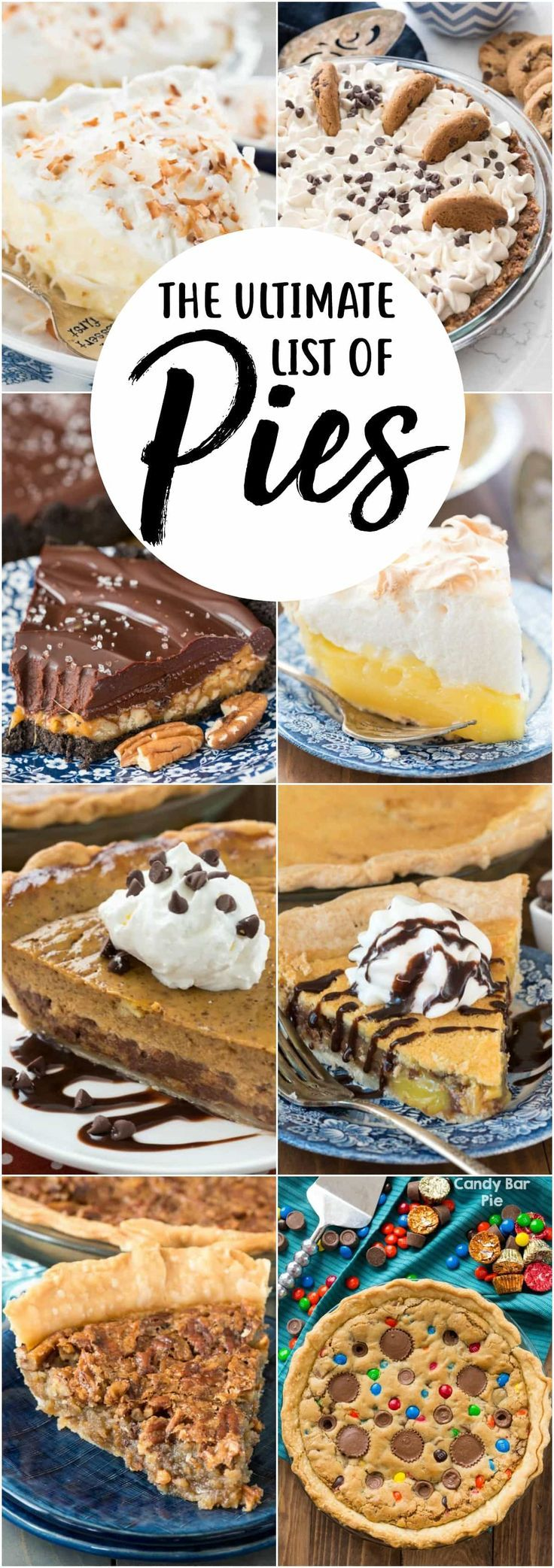 This is the Ultimate List of Pie Recipes with everything from pecan pie to coconut cream and every easy pie recipe in between.   via @crazyforcrust