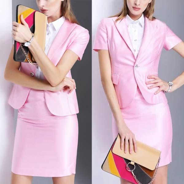 人気レディースファッショントレンドデザインエレガントビジネスオフィスOL上品職場女性社員魅力スリム半袖フォーマルスカートスーツ S53PK_画像2