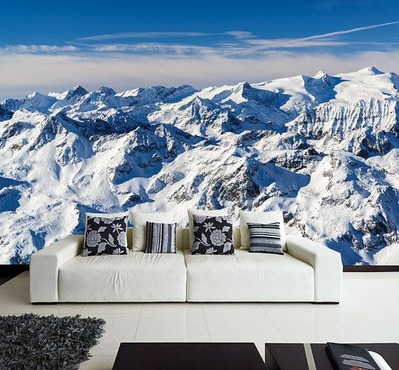 The Alps WALL MURAL, Europe's Alps Mountain Winter Scene