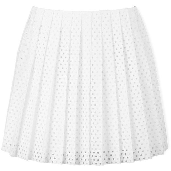 Mcq Alexander Mcqueen Perforated Pleated Skirt ($135) ❤ liked on Polyvore featuring skirts, bottoms, saias, white, sport skirts, sports skirts, tie skirt, knee length skirts and white skirt