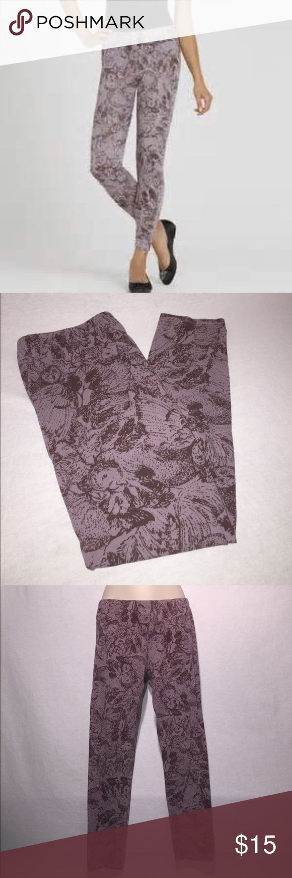 French Connection Purple Owl Leggings Cute soft purple owl leggings. Light signs of piling in crotch region. Otherwise in excellent condition. French Connection Pants Leggings