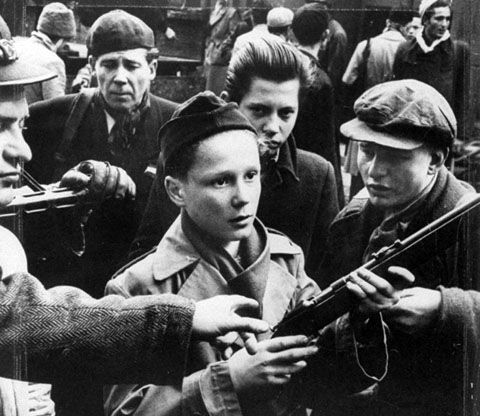 Young volunteers fighting in Budapest in the Revolution of 1956.