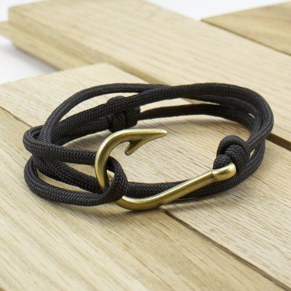 NOT THIS EXACT BRACELET, JUST THE IDEA - Antique Brass Fish Hook Paracord Bracelet