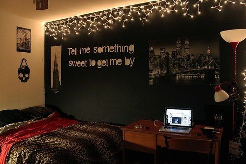 Dark bedroom wall with fairy lights and white writing. Cute Decor Pinterest Dark Bedroom ...