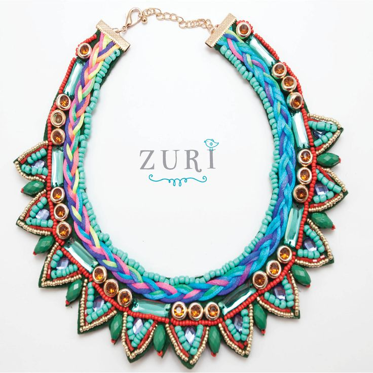 Bright Multi-Coloured African and Tribal inspired bib necklace - R370