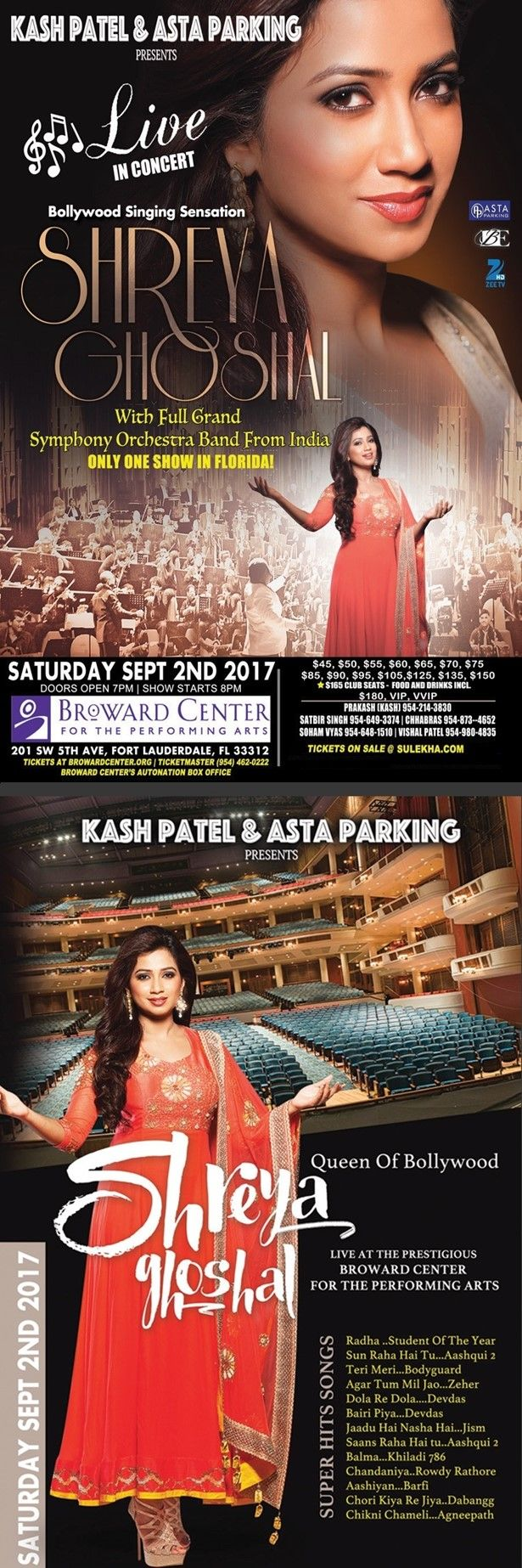 Shreya Ghoshal Live In Florida in Broward Center for the Performing Arts, Amaturo Theater, Fort Lauderdale, FL | Indian Event