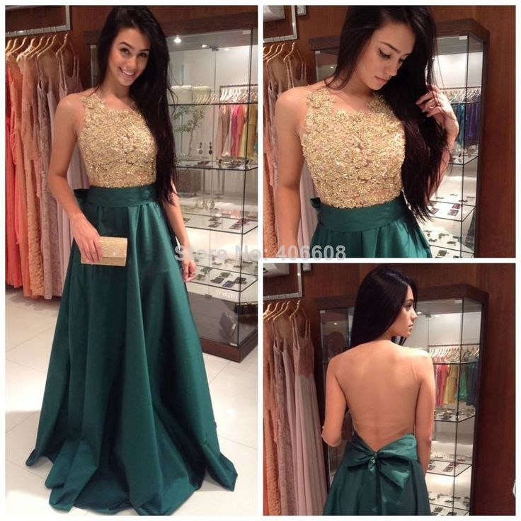 Elegant New Arrival Bateau Sleeveless Gold Lace Applique Nude Back Cute Bow Dark Green Evening Dress Party Gowns Events Dresses $159.00