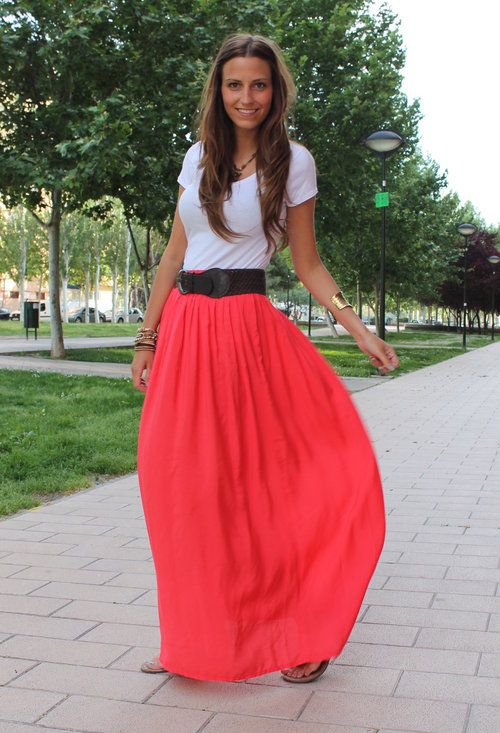 Long SkirtFashion Outfit, Casual Outfit, Long Skirts, Summer Fun, Summer Colors, Spring Outfit, T Shirts, Colors Coordinating, Maxis Skirts