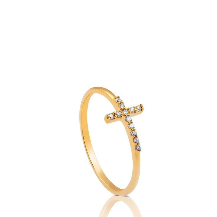 Złoty pierścionek z brylantami Tous Cruz