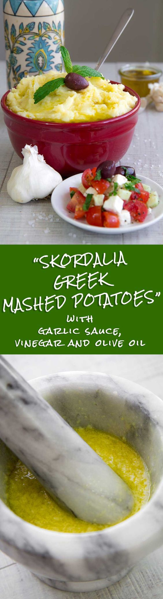 SKORDALIA RECIPE - Greek garlic mashed potatoes -  The Skordalia recipe made with mashed potatoes is one of my preferred Greek side dishes; it's so simple to make and flavorful! Traditionally, Skordalia is served along with fried salt cod, but it is delicious also with grilled lamb, fried zucchini and eggplants, or beet salad!  - tags: vegan vegetarian family dinner Mediterranean dip healthy sauce bread pita appetizer garlic mashed potatoes salad