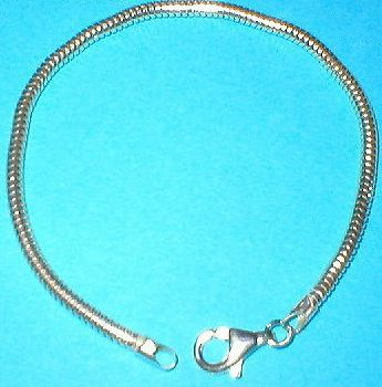 "4mm Snake Bone Silver Bracelet 8"" Stamped 925 on clasp (not just a tag but an actual hallmark stamp)"