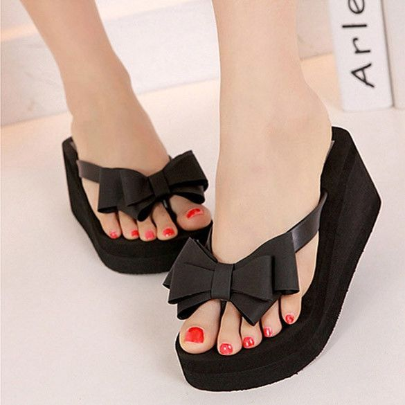 Ladies Summer Platform Flip Flops Thong Wedge Beach Sandals Knotbow Shoes #flipflops #wedgesandals