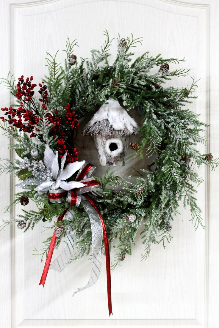 Country christmas decorations 2014 - Little Bit Of Country Christmas Wreath Beautiful Snowy Wreath With Bird House Of Snow