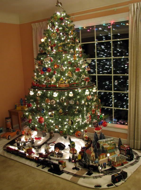 post your christmas layout pics here classic toy trains magazine xmas trees pinterest christmas christmas villages and christmas tree - Christmas Train Decoration
