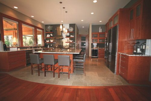 Wood Cabinets With Wood Floor And Ceiling For Kitchen Furniture Contemporary Kitchen Design