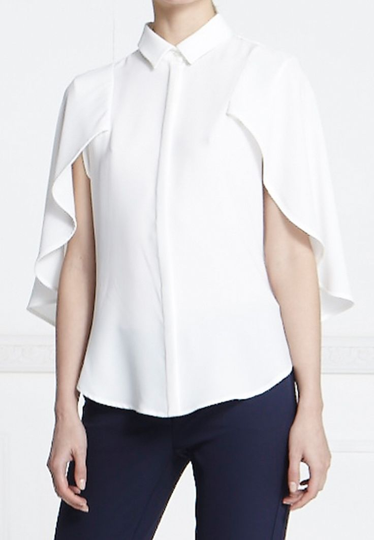 Anne Fontaine | LEONARD WHITE CAPE SHIRT WITH 3/4 SLEEVES | White shirt with 3/4 sleeves and a cape effect with a concealed button placket and button down shirt collar |  60% Acetate, 40% Polyester | $395                                                                                                                                                                                 More