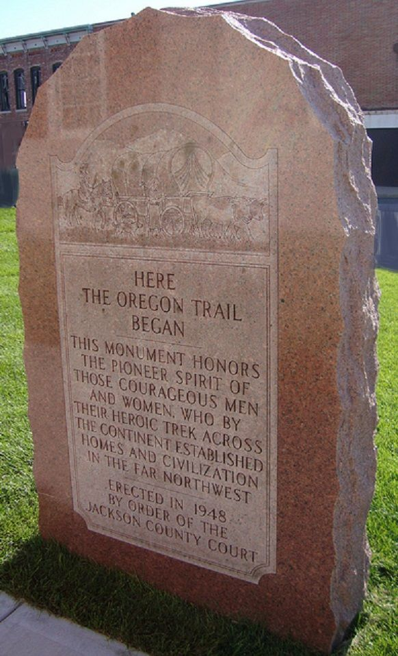 Oregon National Historic Trail, Missouri to Oregon - This is the historic stone marker in Independence, Missouri.