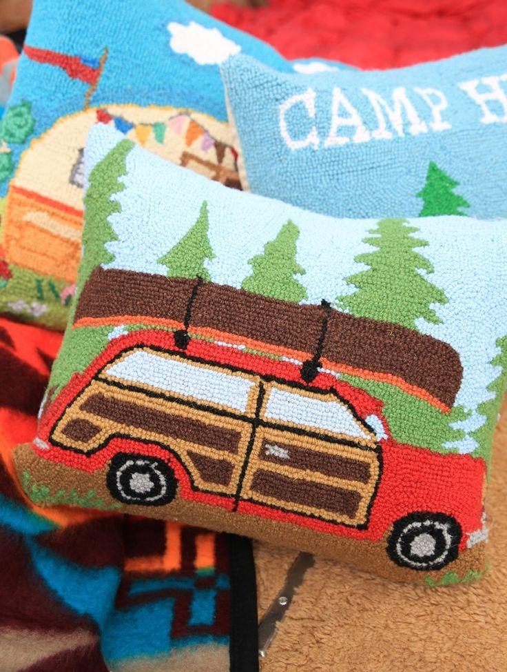 woodie station wagon hooked pillow - Junk GYpSy co.