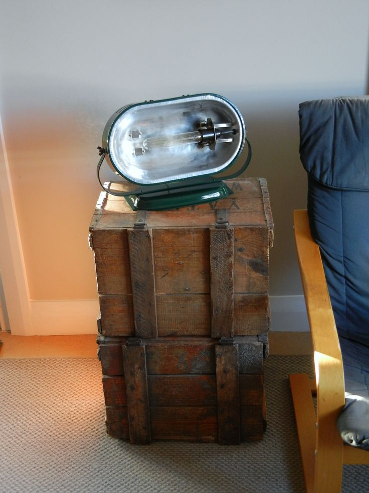 A lamp made from an old bar heater. Completely stripped down, polished, painted and re-wired.