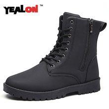 YEALON 2016 Новый Мягкой И Дышащей Моды Сапоги Для Мужчин Высокого качество Черный Кожаный Ботинок Мартин Лодыжки Снег Мужчины Обувь Размер 39-44(China (Mainland))
