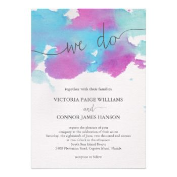 Vibrant Dreams Wedding Invitation - beautiful handpainted, one-of-a kind watercolor design! #wedding #watercolor #painted #modern #colorful #blue #aqua #purple #elegant #bold #we #do #pink #paint #painting #beautiful #trendy #bright #colors #watercolor #wedding #watercolor #wedding #invitations #art #artist #hand #painted #original #paper #canvas #gray